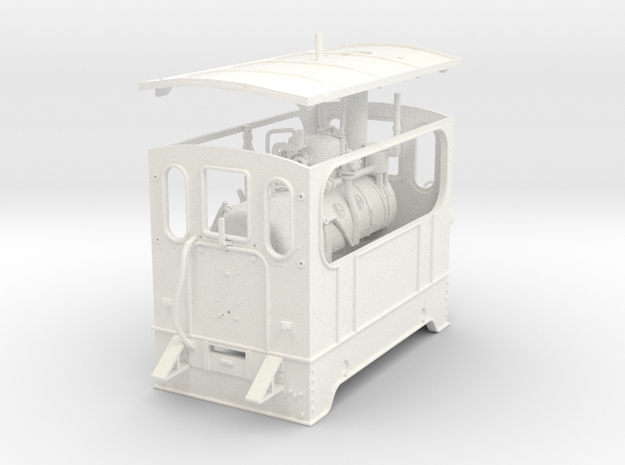 1:45 Silvolde steam tram 0e in White Processed Versatile Plastic