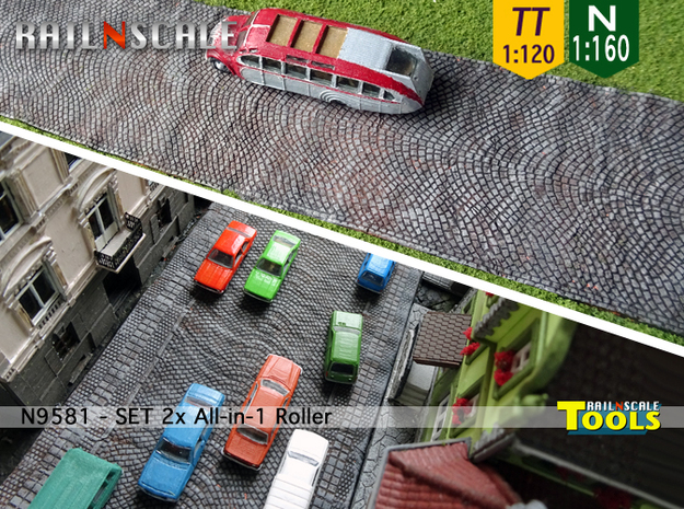 SET 2x All-in-1 Roller  (N 1:160 - TT 1:120) in Smooth Fine Detail Plastic