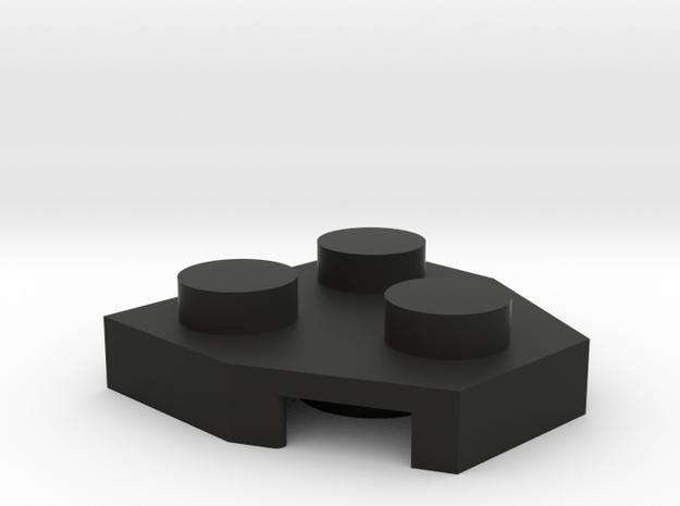 Plate w/ 3 studs in Black Natural Versatile Plastic