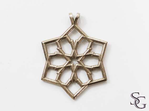6 pointed star pendant in Polished Bronzed Silver Steel