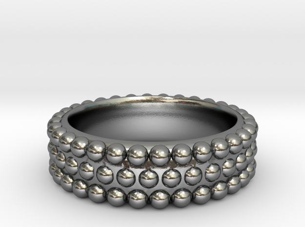 Hobnail Ring in Polished Silver: 6 / 51.5
