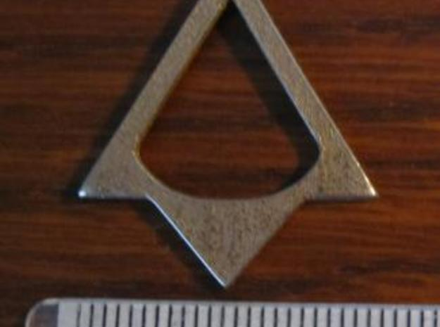AC Brotherhood - Thieves' necklace 3d printed SS with a metric ruler for scale.