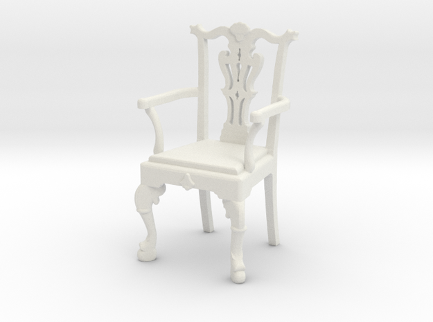 Chippendale Chair with arms in White Natural Versatile Plastic