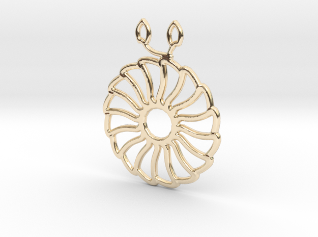 Chrysanthemum Pendant in 14k Gold Plated Brass