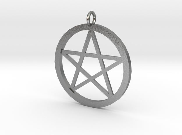 pentacle pendant in Natural Silver