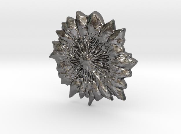Large Circle Blood Gemstone in Polished Nickel Steel