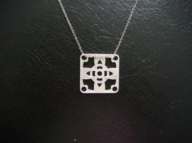 Square Pendant or Charm - Four Petal Flower in Natural Silver