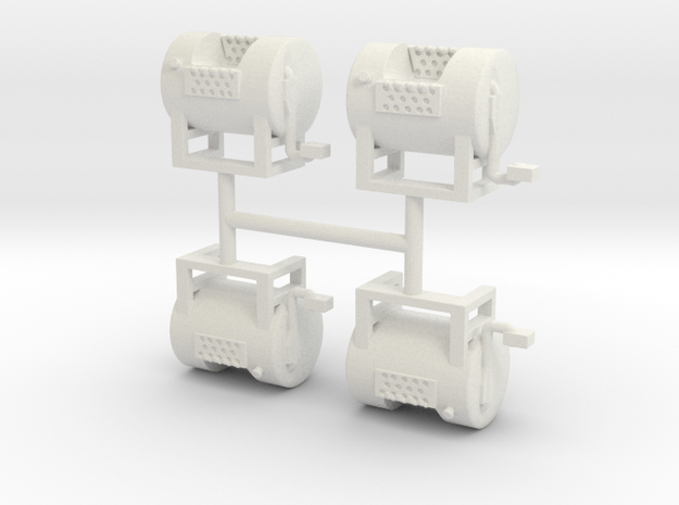 1/50th Mack type round fuel tanks in White Natural Versatile Plastic