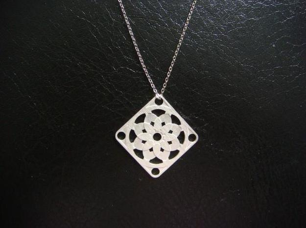 Square Pendant or Charm - Sixteen Petals in Raw Silver