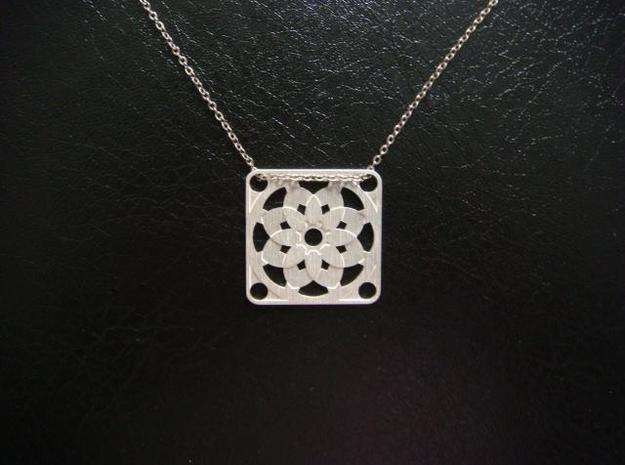 Square Pendant or Charm - Sixteen Petals 3d printed Silver - Chain not included