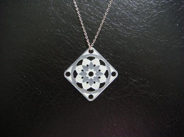 Square Pendant or Charm - Sixteen Petals 3d printed FUD - Chain not included