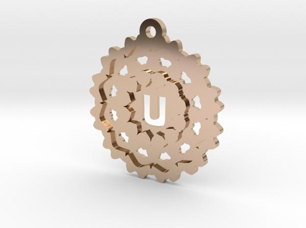 Magic Letter U Pendant in 14k Rose Gold Plated Brass