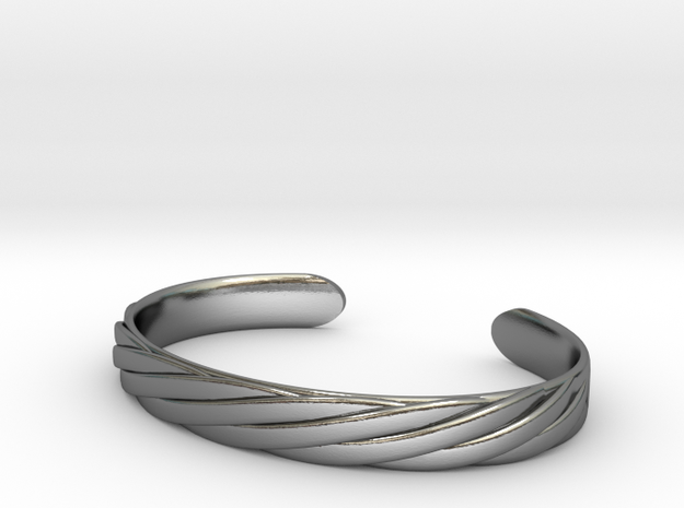 Twisted Rope Design Cuff Bracelet Large in Polished Silver