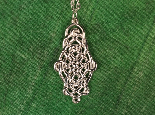 Raindrop Celtic Knot Pendant 40mm in Polished Silver