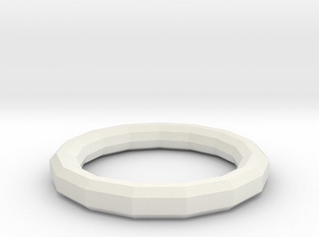 Simple Geometric Ring in White Natural Versatile Plastic: 7 / 54