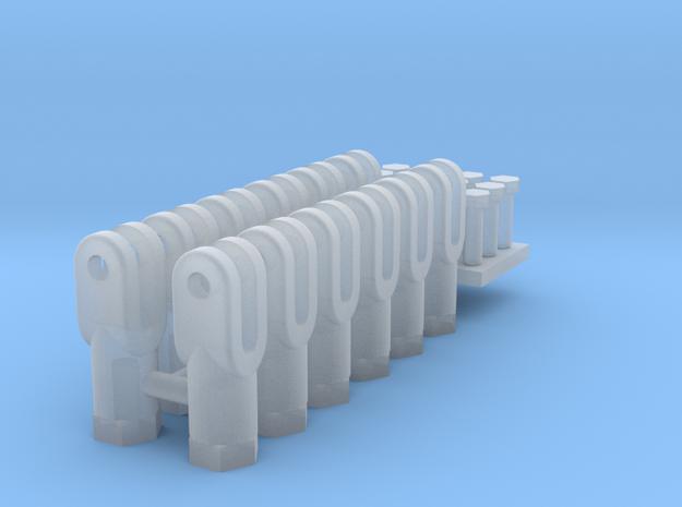 12 Embouts femelles pour tringle de commande in Smooth Fine Detail Plastic