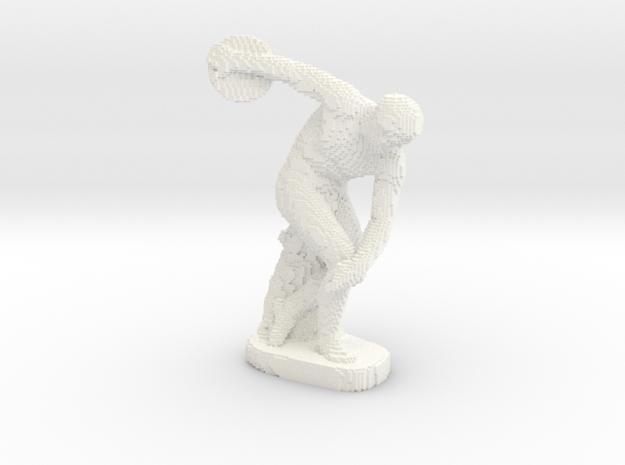 Discobolus voxelized in White Processed Versatile Plastic