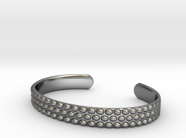 Hobnail Cuff Bracelet Large in Polished Silver
