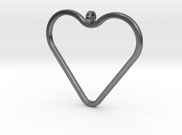 Heart_necklace 1 v1 in Polished Nickel Steel: Medium