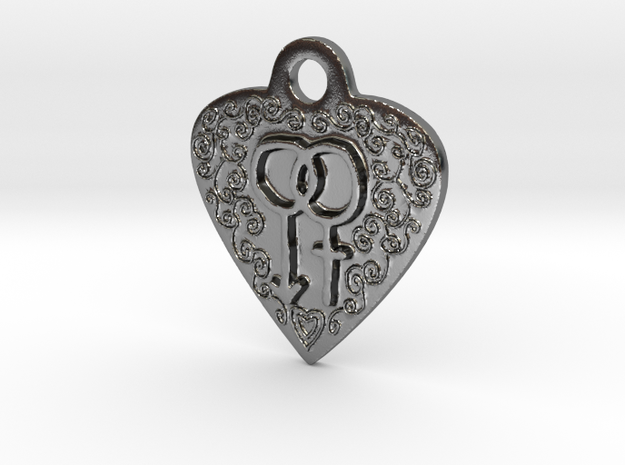 Transgender Heart Pendent in Polished Silver