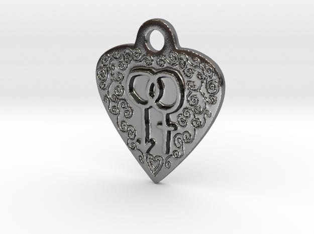 Transgender Heart Pendent in Polished Silver