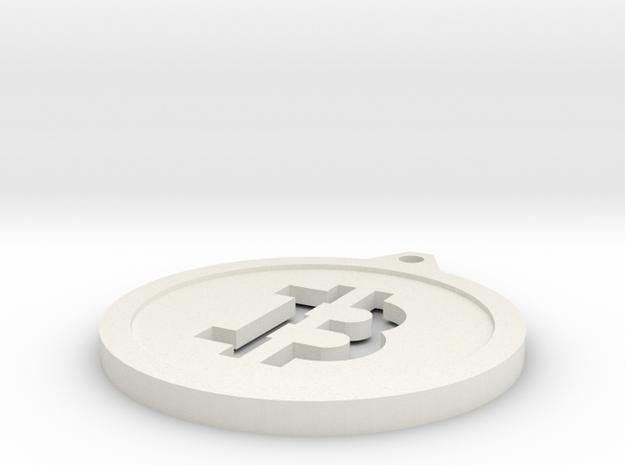 Bitcoin Keychain in White Natural Versatile Plastic