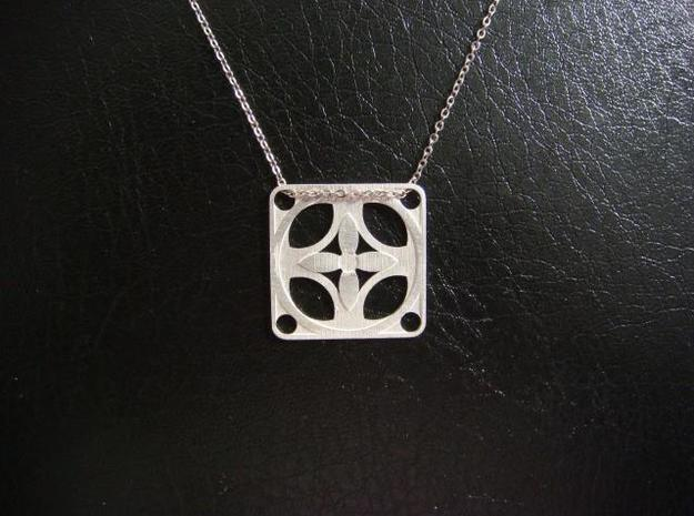 Square Pendant or Charm - Four Petal Flow in Natural Silver
