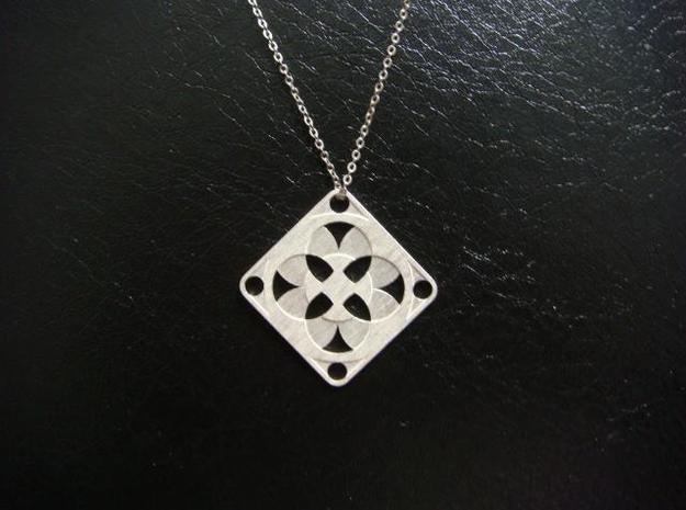 Square Pendant or Charm - Four Fountains 3d printed Silver - Chain not included