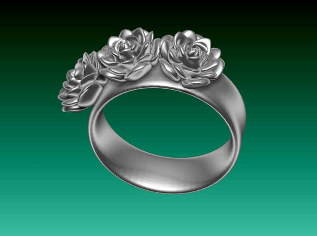 Tiny 3 Rose ring (plastic print only - no silver)