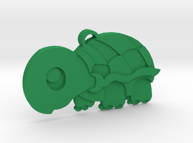 Cute Turtle Keychain in Green Processed Versatile Plastic