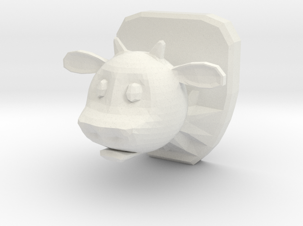 Mounted Cow Head in White Natural Versatile Plastic