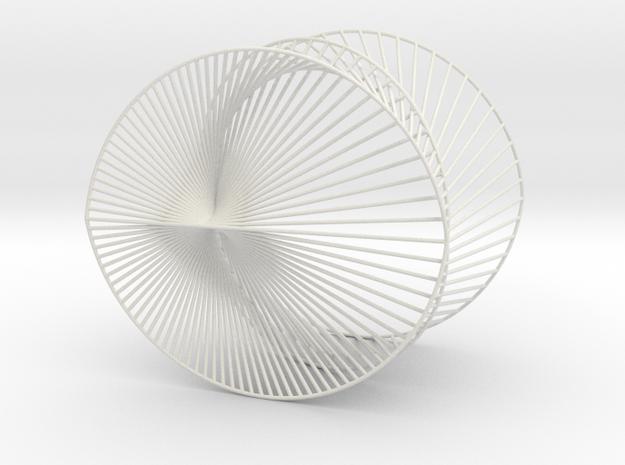 Cardioid Geometric 3D String Art V2 in White Natural Versatile Plastic