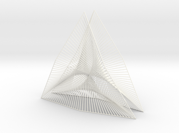 Shape Wired Parabolic Curve stitching Art V3 in White Processed Versatile Plastic