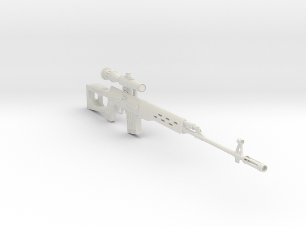1/3rd scale Dragonuv  SVD Sniper Rifle in White Natural Versatile Plastic