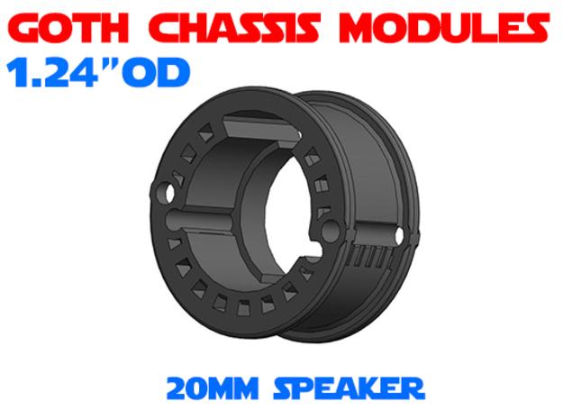 GCM124 - 20mm speaker chassis in White Natural Versatile Plastic