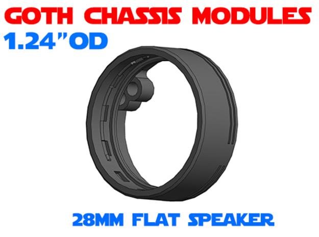 GCM124 - 28mm Flat Speaker Chassis in White Natural Versatile Plastic