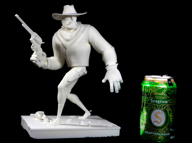The Gunfighter (Large) 3d printed Scale. I know the can looks photoshopped in but this is the actual scale of the printout. When I took the photograph, it was on a black towel and after adjusting the exposure, it took out the background completely. Notice the slight reflection of the mode