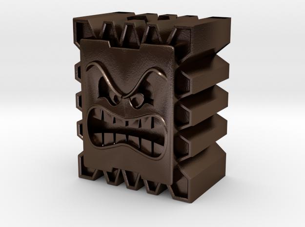 Thwomp Block Bead in Polished Bronze Steel