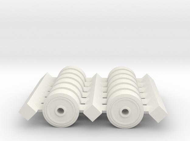 H0 1/87 M4 Sherman Spare Wheels (pressed). in White Natural Versatile Plastic