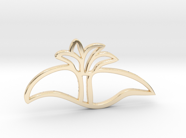 Dune and palm tree pendant in 14K Yellow Gold