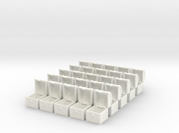 25× MTG Treasure Chest Token (16 mm dice chest) in White Processed Versatile Plastic