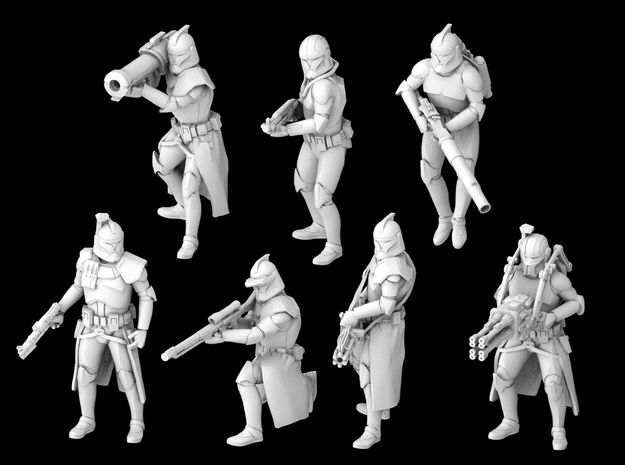 (1/47) 7x Specialized Clone Troopers Phase 1