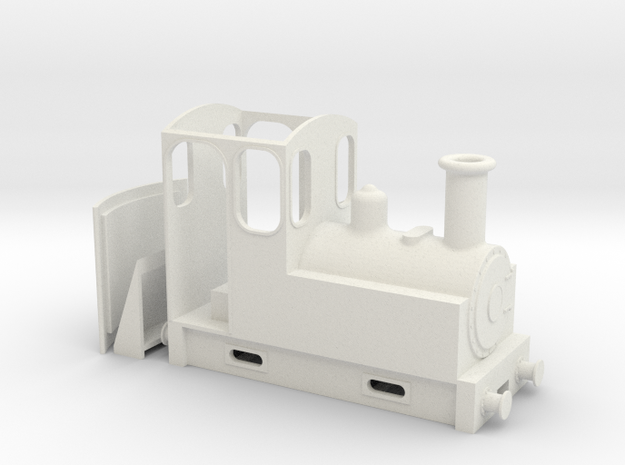On18 Steam Tram Locomotive  in White Natural Versatile Plastic