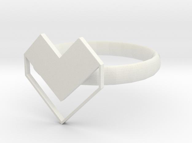 HEART 2 in White Natural Versatile Plastic: 1.5 / 40.5
