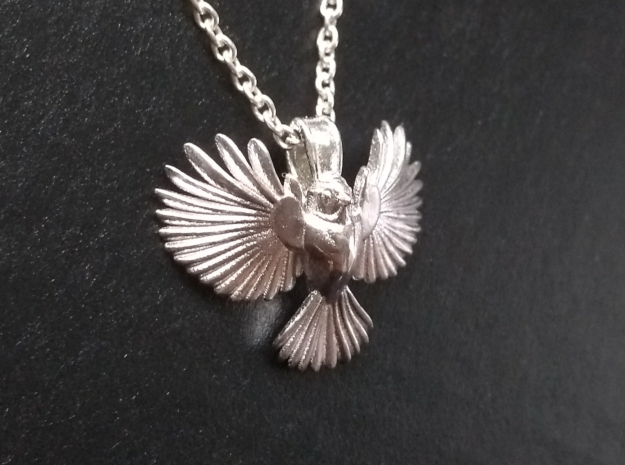 Chickadee pendant (inspired by blue tit) in Polished Silver