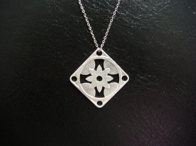 Square Pendant or Charm - Eight Petal Floating 3d printed Silver - Chain not included