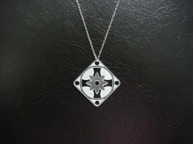 Square Pendant or Charm - Eight Petal Floating 3d printed FUD - Chain not included