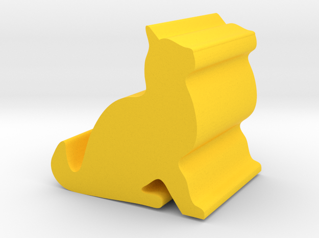 The cat smartphone holder in Yellow Processed Versatile Plastic: Small