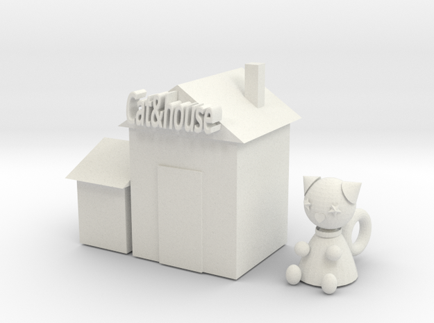 Cat doll house in White Natural Versatile Plastic