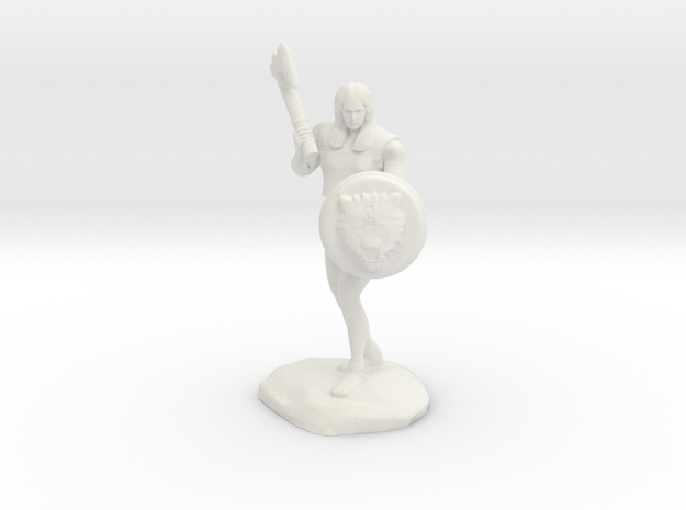 Wandacea, the Barbarian with Sword and Shield in White Natural Versatile Plastic
